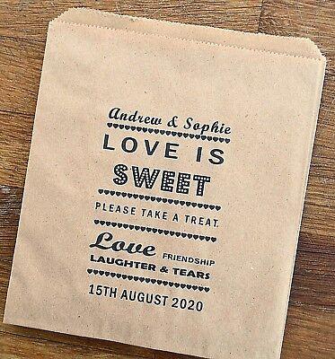 Carta Marrone Vintage Personalizzato Matrimonio Sacchetti Caramelle Candy Carrello Favore Torta-
