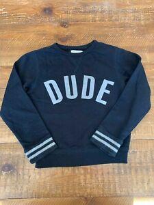 PEEK-Boys-Sz-2-3T-XS-Black-White-DUDE-Pull-Over-Sweatshirt