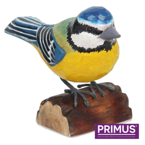 Garden Ornament Outdoor Birds Primus Hand Carved Wooden Blue Tit or Robin