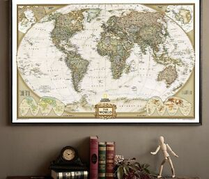 Vintage-antique-retro-world-map-countries-wall-home-decoration-sticker-poster