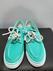 SPERRY TOP SIDER WOMENS TEAL CANVAS