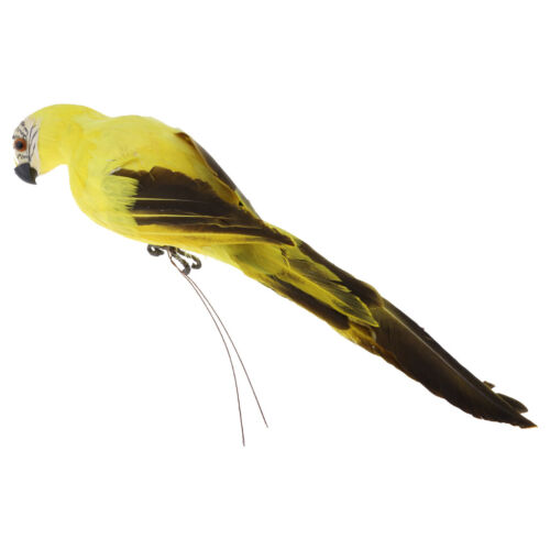 Macaw Parrot Model Realistic for Home Fake Artificial Bird Figurine Yellow