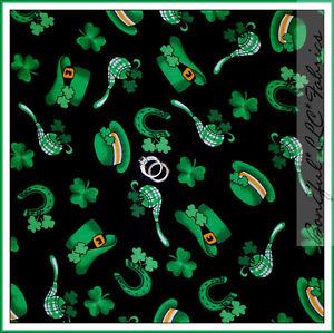 BonEful-Fabric-FQ-Cotton-Quilt-Black-Green-Leaf-Shamrock-St-Patricks-Day-Clover
