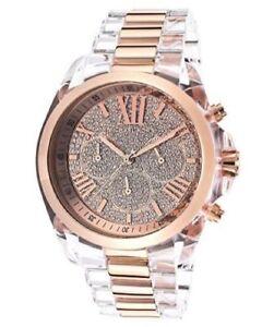 636876ceb70 Michael Kors MK5905 Bradshaw Clear Acrylic Bracelet Rose Gold Chronograph  Watch