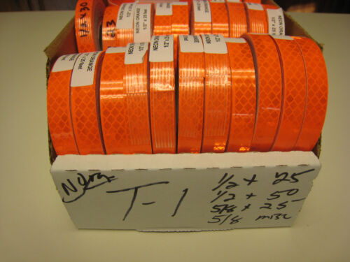 "NEON ORANGE  Reflective   Conspicuity  Tape 5//8/"" x 25 feet  lined peel /& stick"
