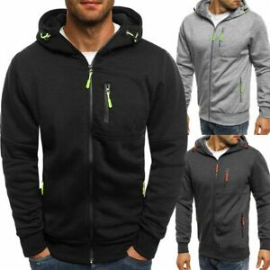 Winter Men/'s Zipper  Up Hoodie Hooded Sweatshirt Jacket Jumper Coat Tops Outwear