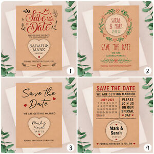 PERSONALISED-Rustic-Kraft-Save-The-Date-Cards-Wooden-Heart-Fridge-Magnets-Boho