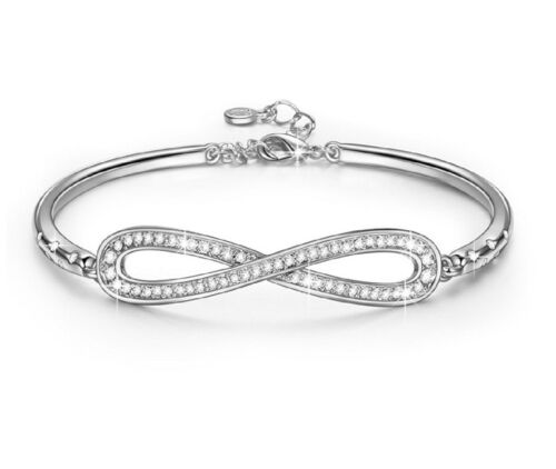 Oro Blanco Acabado Infinity creado Diamante Brazalete