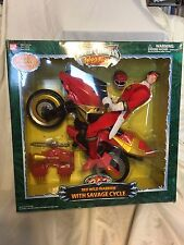 """Power Rangers Wild Force 12"""" Red Wild Warrior Removable Mask Savage Cycle MISB"""