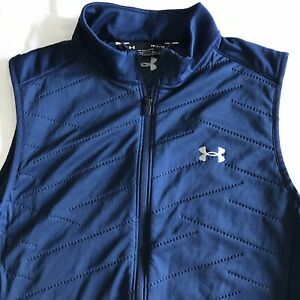 Under Armour LOOSE Men's Coldgear Full Zip Vest Navy Blue Size Small EUC