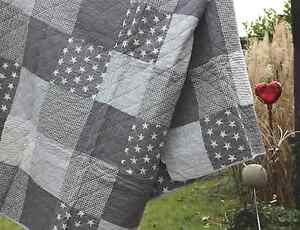 tagesdecke 140 x 220 cm gray stars quilt clayre eef patchwork look ebay. Black Bedroom Furniture Sets. Home Design Ideas