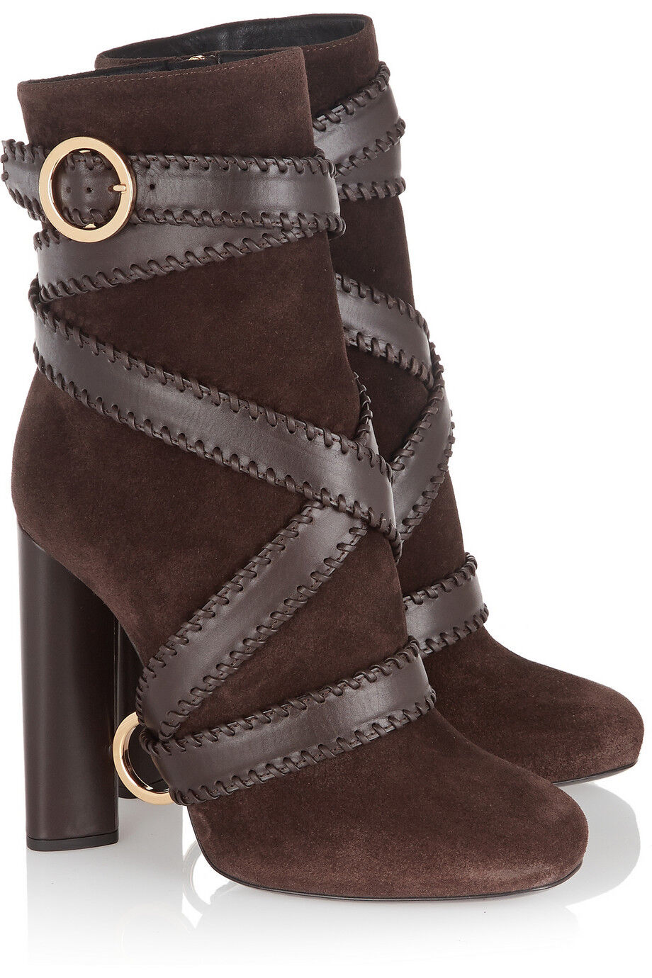 $1.7 Tom Ford Leather & Suede Brown Brown Brown Strappy Ankle Boots Sz 40.5 / 10.5 New + Box 1c3196