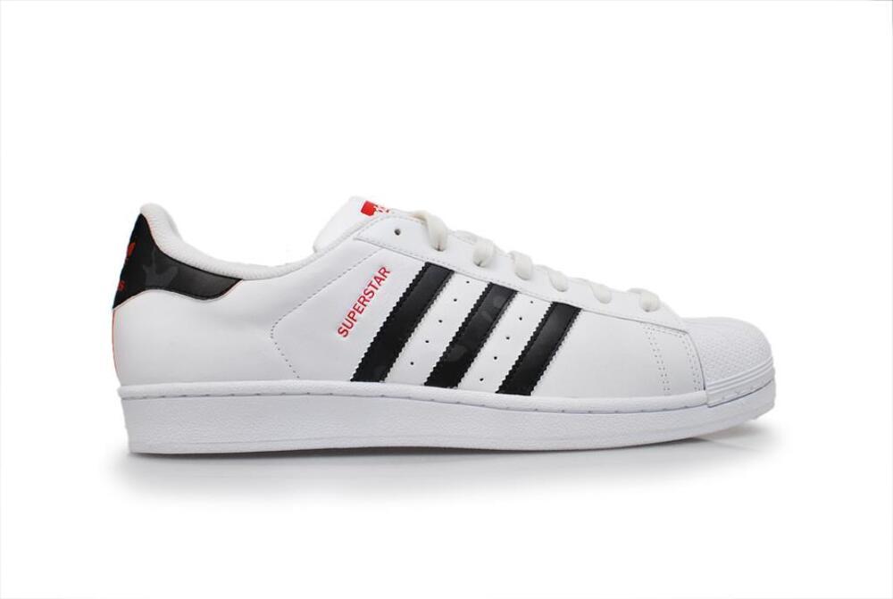 Homme Adidas Superstar-AQ2349-Blanc Noir Rouge Baskets-
