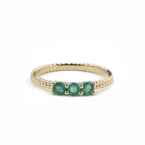 Round Cut 0.40CTW Natural Emerald 18K Gold Art Deco Engagement Wedding Ring