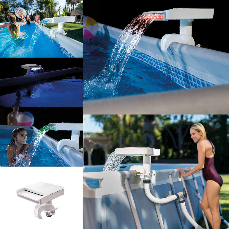 Intex 28090 Wasserfontäne Springbrunnen Wasserfall mehrfarbig Pool LED Poollicht