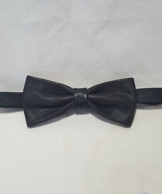 MB1 Matt Black Leather Dickie Bow Neck Tie Groom Wedding Party Formal Casual Gif