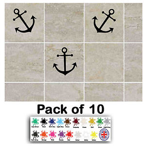 Pack Of 10 Anchors Tile Transfer Stickers Decal Bathroom