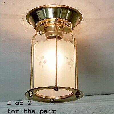 249b Vintage Ceiling Light Lamp Fixture Glass shade bath hall porch midcentury
