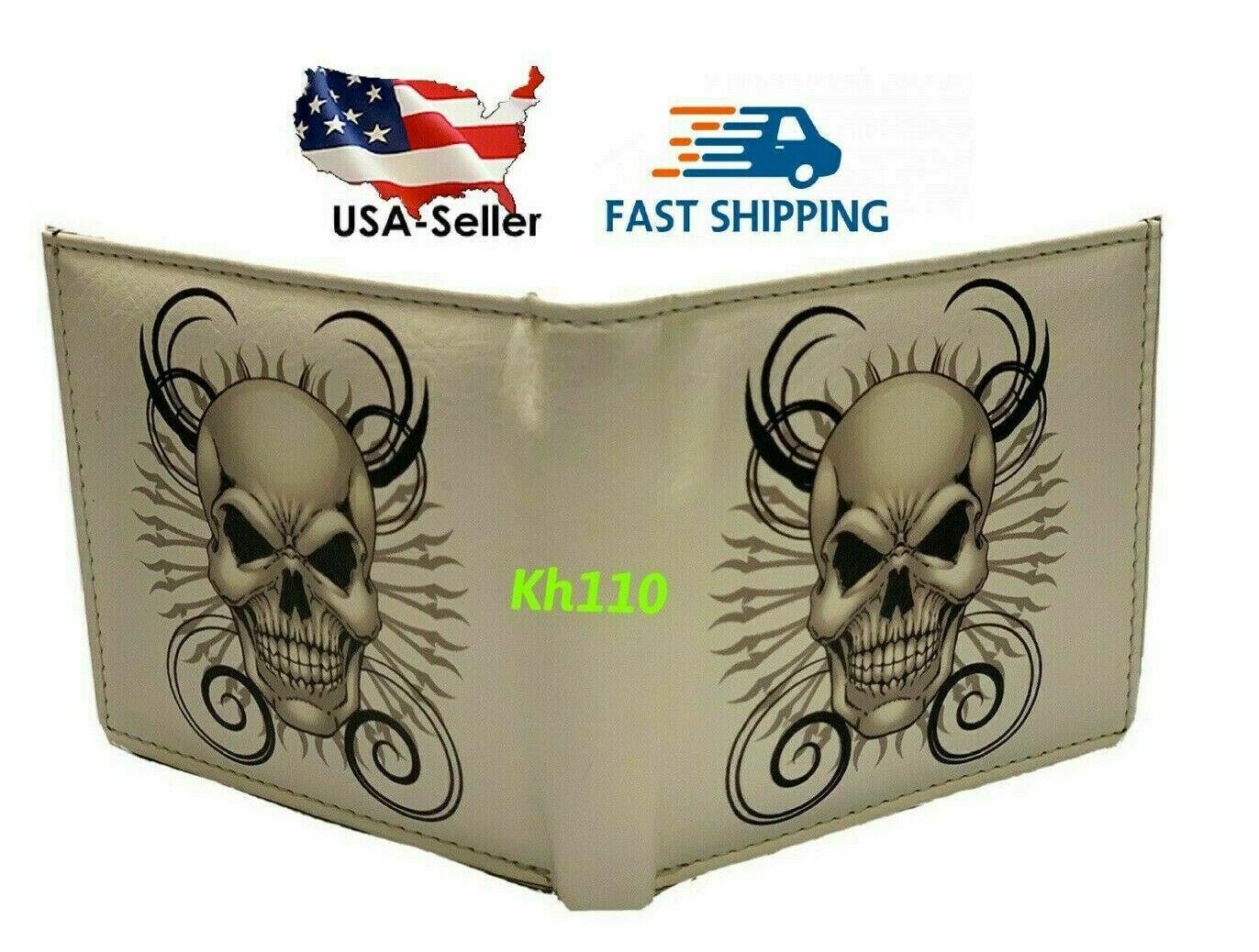 Skull White Printed Handcrafted BI-Fold wallet