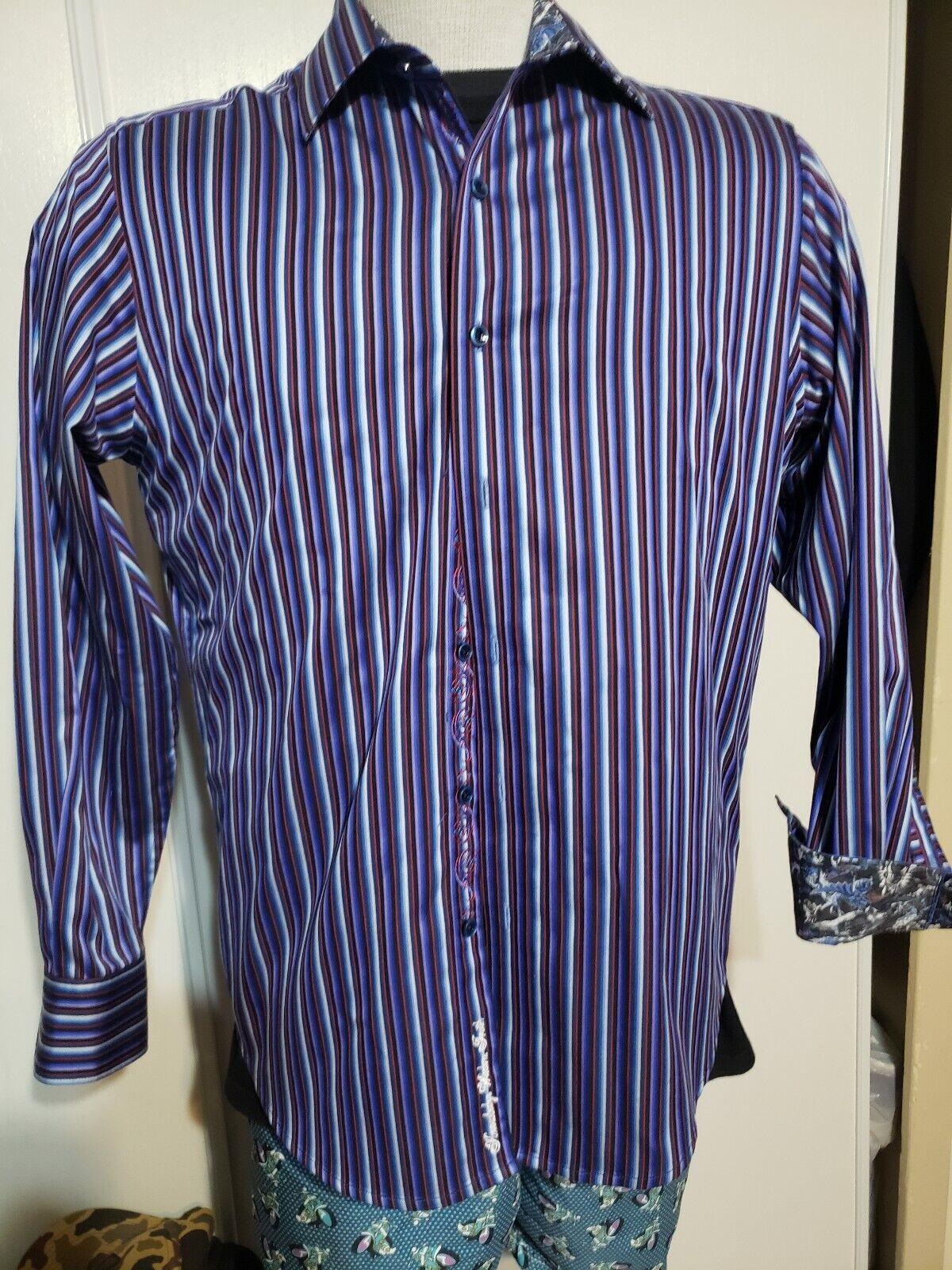 Robert graham medium long sleeve Stripes Button shirt  Flip Cuff