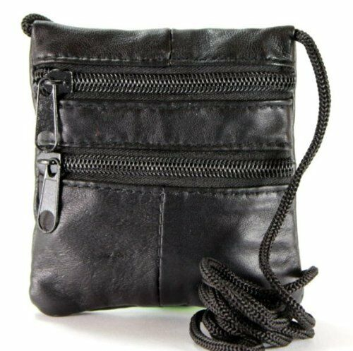 Zipped Black Leather Neck Purse 1460 Small Cross Body Bag