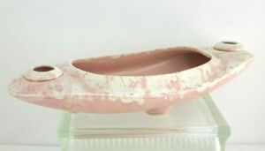 Vintage Brush USA Art Pottery- Tulip Planter with Candle Holders- Pink Sponge