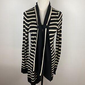 Marco-Polo-Women-039-s-Long-Black-amp-White-Stripe-Open-Front-Cardigan-Size-M-S8