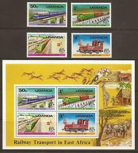 UGANDA-1976-SG173-176-MS177-Railway-Transport-Set-MNH-JB12128