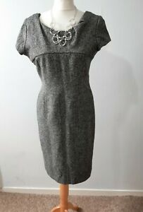 LK-Bennett-100-wool-Black-grey-herring-tweed-Dress-UK-Size-12
