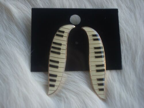 """PIANO Keyboard Leaf Style Post Earrings Gold Trim 1.5/"""" L Great MUSIC Gift NEW"""
