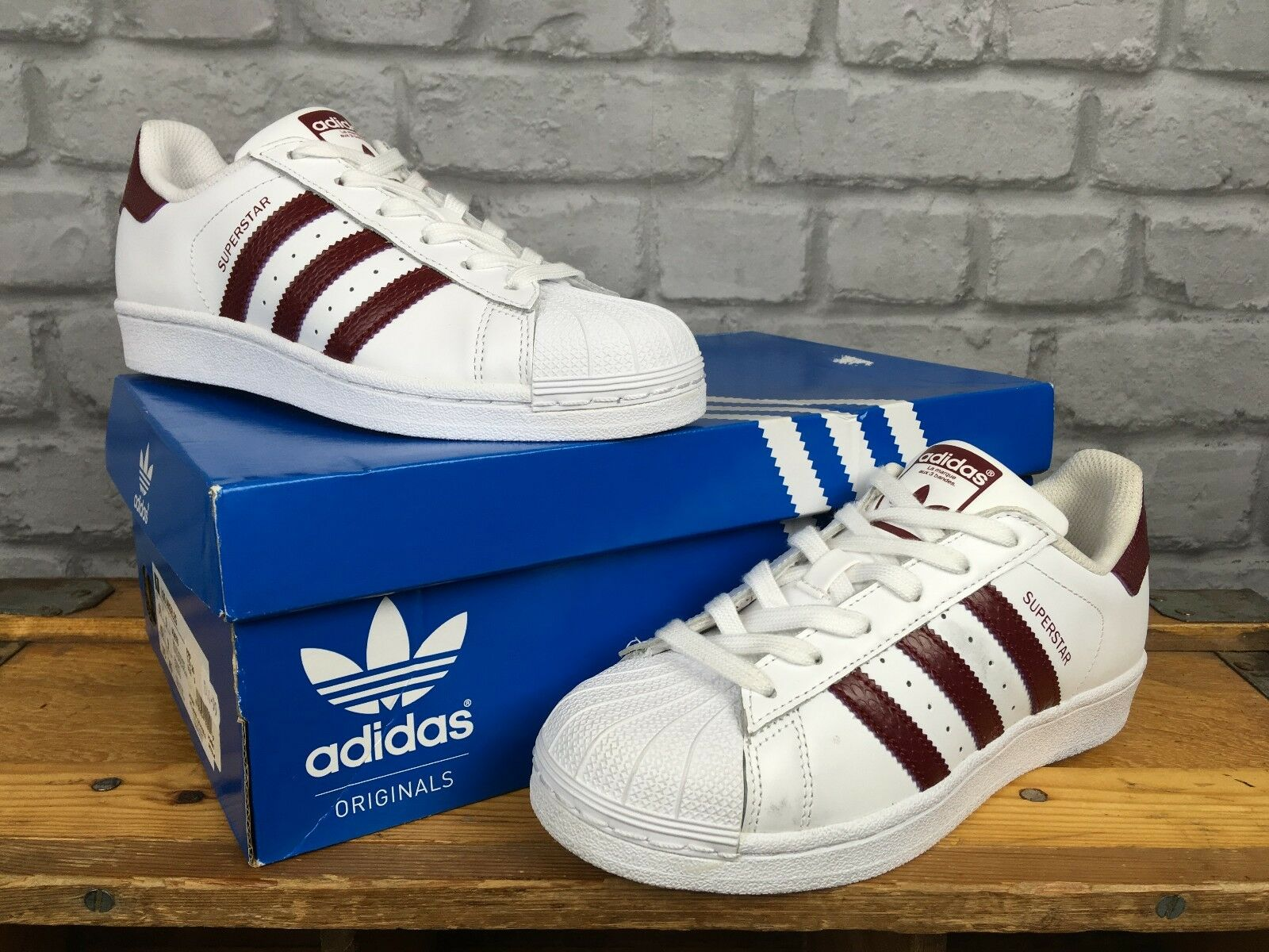ADIDAS SUPERSTAR LADIES4 EU LIZARD 36 2/3 blanc BURGUNDY LIZARD EU SKIN TRAINERS 56ed8d