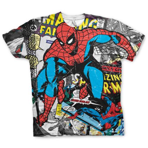 Herren Comic Allover Print Spider-Man T-Shirt Rundhals Marvel Comics