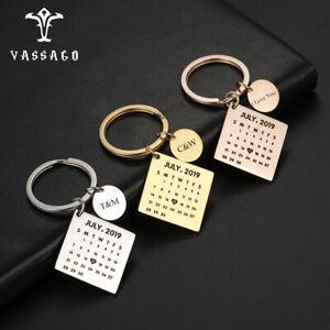 Personalized Custom Calendar Keychain Special Date Keychain Couple Name Jewelry
