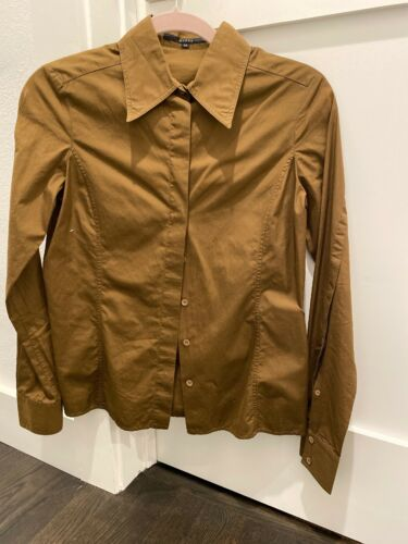 Gucci brown button down fitted shirt top blouse Si