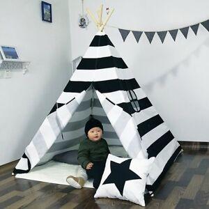 5-039-Indian-Play-Tent-Stripe-Canvas-Kids-Teepee-Children-Playhouse-Sleeping-UK