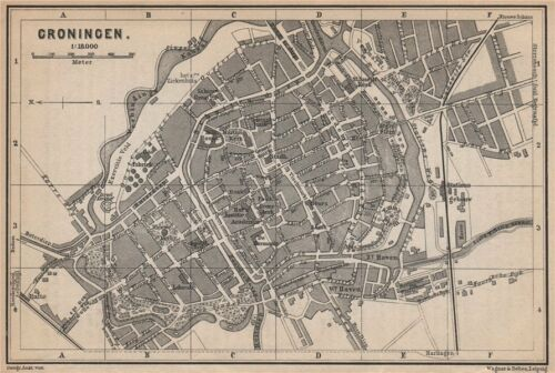 BAEDEKER 1897 map Netherlands kaart GRONINGEN antique town city stadsplan