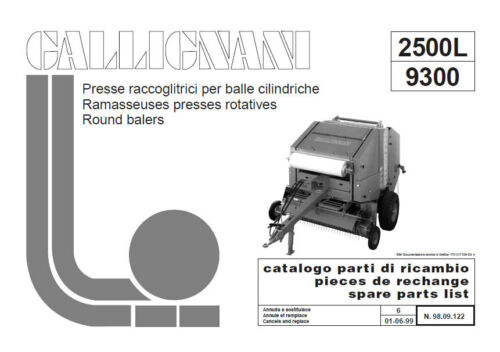 Gallignani 9300 parts manual in PDF format