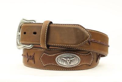 Nocona Men/'s Western Longhorn Concho Barbed Lace Leather Belt-Brown
