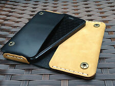 Genuine Real Leather Vintage Black/Brown Wallet Case Pouch For iPhone 5 5S SE