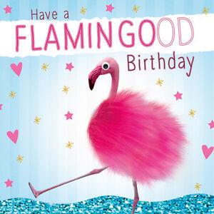 Image Is Loading Pink Flamingo Fluff Handmade Luxury Birthday Greeting