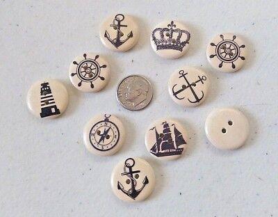 "Scrapbook Craft 9024 Lot of 10 MUSHROOMS 2-hole Wood Buttons 11//16/"" 18mm"