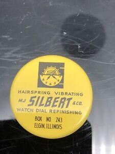 Vintage MJ SILBERT & Colorado watch parts tin Elgin, Illinois Watch Cadran Finition