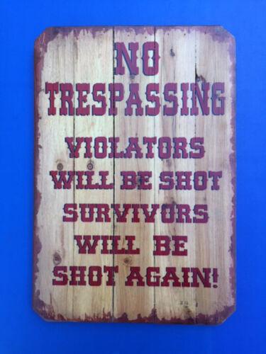 Western Cabin Lodge Barn Stable Decor ~NO TRESPASSING~ Wood Slat Sign