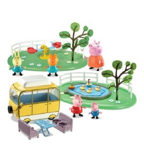 Peppa Pig Campervan & Park Playset Inc 5 Figures Duck Pond And See-Saw NEW UK