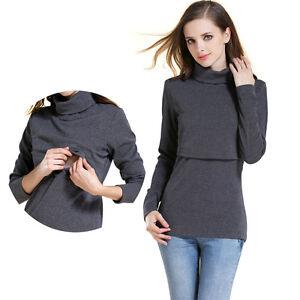 66945a09f80c7 Image is loading Maternity-Clothes-Cotton-Nursing-T-Shirts-Turtleneck-Jumper -