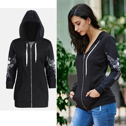 Womens Zip Skull Wings Punk Hoodie Hoody Sweatshirt Hooded Jumper Jacket Coat