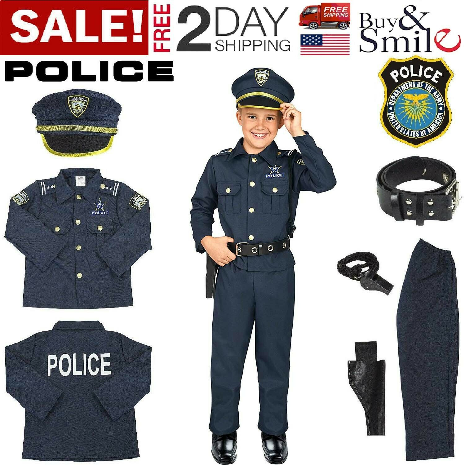 Age 4-6 years Smiffys Police Costume Black S