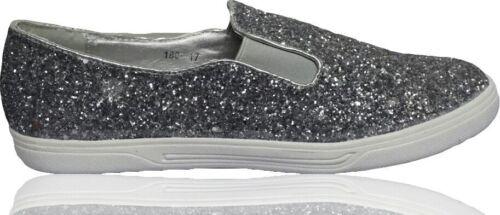 Ladies Womens Trainers Slip On Glitter Low Heel Pumps Plimsolls Flats Sneakers