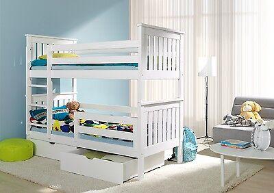 Bed wooden bunk kids children childrens frame single 3ft furniture new sleeper