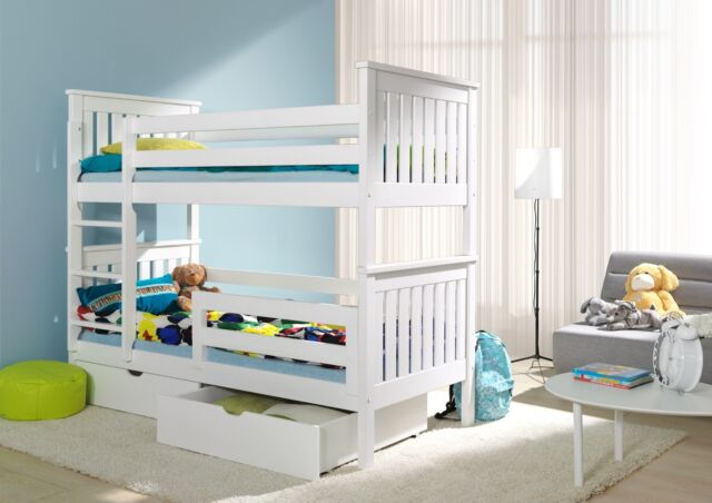 Bunk Beds Wooden Childrens White Solid Pine Kids Bedroom Furniture 3ft Bed Frame